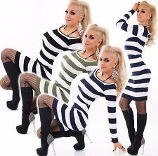 Damen Strick Kleid Minikleid Long Pullover Pulli Longshirt Sweater gestreift