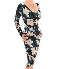 New Teal or Plum Floral Ruched V Neck Dress