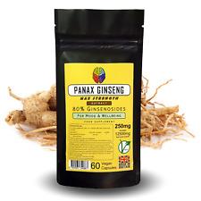 Panax Korean Ginseng Extract Capsules - 12500mg Eq - 80% Ginsenosides +FREE GIFT