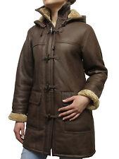 Damas abrigo de piel de oveja real de piel de oveja Marrón Cuero Abrigo brandlock Muletón Abrigo