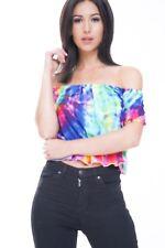 Ladies Multi Coloured Splash Print Crop Top BardoT Hem Frill Short Sleeve