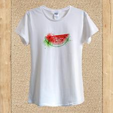 Summer Watermelon Art T-shirt Design Happy Fresh Juice Vacation unisex women