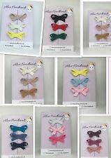Set of 3 Mini Hair Clip Petersham Ribbon School Girls Toddler Baby Hair  + Lot