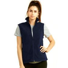 Ladies Polar Fleece Vest Sweater No Sleeve Casual Solid Zip Front Jacket S M L