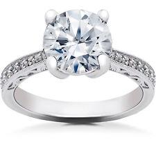 2 1/6 ct Lab Grown Eco Friendly Diamond Vintage Engagement Ring 14k White Gold