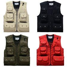 Men's Utility Multi Pocket Sleeveless Jacket Coat Military Tactical Combat Vest