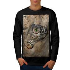 Lizard faccia NATURA Animale Uomini Manica Lunga T-shirt Nuove | wellcoda