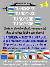 (p005) 4 x BANDERA CANARIAS NOMBRE EDITABLE PEGATINA VINILO CASCO BTT BICICLETA