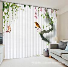 3D Bird Tree Blockout Photo Curtain Printing Curtains Drapes Fabric Window CA