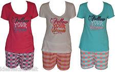 Sportlicher Shorty Schlafanzug Pyjama ,3 Farben,Baumwolle,Gr. S-XL (36-50)