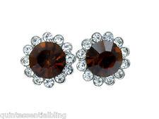 46a SP Warm Brown Swarovski Crystal Elements Post Stud Earrings