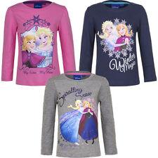 NUOVO Maglia a maniche lunghe ragazza pullover maglietta frozen rosa grigio blu