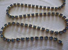 2mm Light Sapphire Blue Rhinestone Chain - Brass Setting - Czech Crystals
