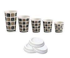 Bulk Case Disposable Paper Coffee Tea Cups & Sip Lids 4oz 8oz 10oz 12oz 16oz