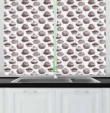 "Cupcake Kitchen Curtains 2 Panel Set Window Drapes 55"" X 39"""