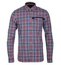 Fred Perry para hombre Camisa Manga Larga Tartán Cameron M7377-395 - oscuro carbono