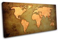 World Atlas  Maps Flags SINGLE CANVAS WALL ART Picture Print VA