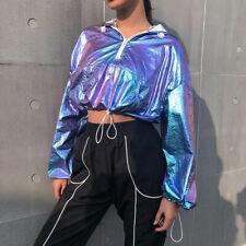 918b149b9c0275 Women Laser Hooded Sweatshirts Crop Tops Drawstring Jacket Cool Sexy Hoodies