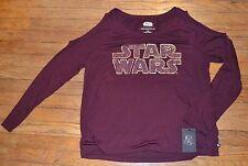 Rock & Republic Star Wars Bronze Logo Embellished Open Shoulder Long Sleeve Top