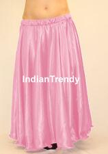 Pink Satin Full Circle Skirt Belly Dance Gypsy Tribal 9 Yard Flamenco 360 Jupe
