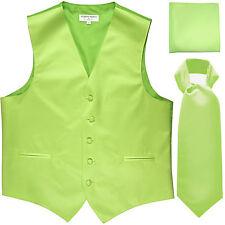 New Men's Lime green vest Tuxedo Waistcoat ascot hankie set wedding prom