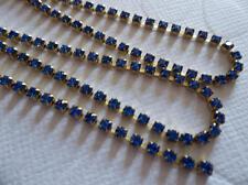 2mm Sapphire Blue Rhinestone Chain - Brass Setting - Czech Crystals