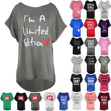 Womens Ladies T Shirt Baggy Love Brave Heart Batwing Direct Sleeve Hi Lo Tee Top