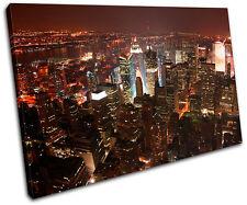New York NYC Skyline City SINGLE CANVAS WALL ART Picture Print VA