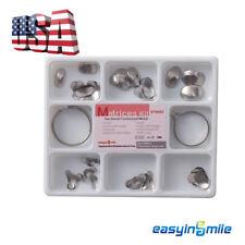 [USA]100Pcs Dental Sectional Contoured Metal Matrices Matrix Kit & 2 Ring Delta