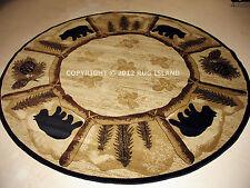 Round Lodge Cabin Rustic Bear Pine Brown Green Black Area Rug **FREE SHIPPING**
