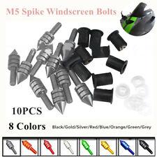 10Pcs M5 Motorcycle CNC Mount Fairing Windscreen Windshield Spike Bolts Washers