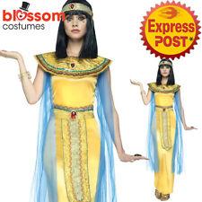 CA336 Golden Cleopatra Toga Egyptian Greek Goddess Roman Fancy Dress Up Costume