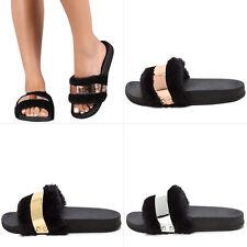 Metallic Accent Open Toe Black Faux Fur Slide Flat Sandal Slipper Shoe Flip Flop