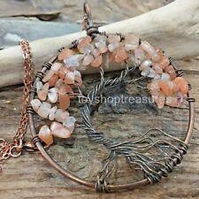 Sunstone Tree of Life Necklace Gemstone Copper Pendant Crystal healing