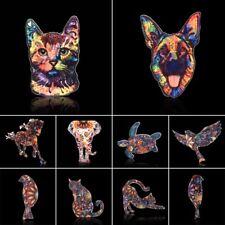 Women Costume Jewelry Handmade Animal Printing Brooch Pin Horse Elephant Cat Dog