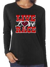 Live Love Race Rhinestone Long Sleeve Shirts Cars Motorcycles Drag Nascar