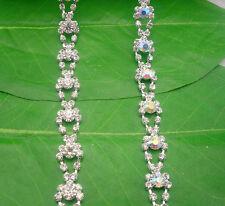 Costume applique AB glass rhinestone close silver chain claw trim 1 Yard #662