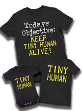 Mantenga vivo humano pequeño! Camiseta para hombre que empareja Papá Hijo Hija familia Bebé