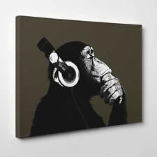 Cuffie Scimmia | GRANDE Wall Art | pensiero Scimmia Tela