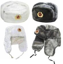 Russian Trapper Hat White With Soviet Badge Faux Fur Ushanka Cossack Flap Cap UK