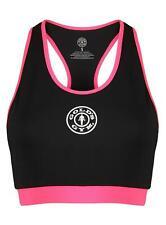 Golds Gym Ladies Crop Top Damen Fitness Sport Shirt Schwarz/Pink Größe XS-L