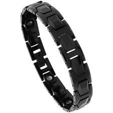 Tungsten Carbide Black Magnetic Bracelet w/ Faceted Hexagon Links