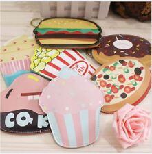 Cute Food Cake Flat PU Coin Money Bag Purse Wallet + Keyring ~ 7 Designs Options