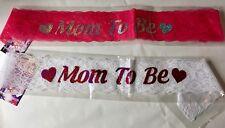LACEY BABY SHOWER SASH  MUMMY TO BE SASH MUM PARTY MOM GIFT RIBBON ACCESSORY
