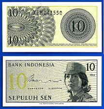Indonesia Lot 10 X 10 Sen 1964 UNC Woman Volunteer Asia Free Shipping Worldwide