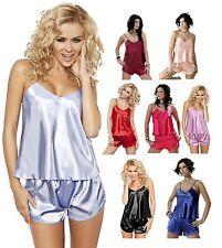 Dkaren Silk Satin Cami & Boxer Shorts DKaren Pyjamas Lingerie Nightwear S - 4XL