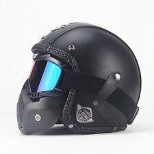 DOT Vintage Motorcycle Leather Helmet Open Face w/Face Mask Street Bike Cruiser
