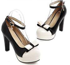 Stiletto Scarpe decolte eleganti donna spillo plateau 11 nero cinturino 8577