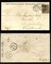 AUSTRALIA 1863 VICTORIA 6d ADVERTISING ENVELOPE INSURANCE CO MELBOURNE DUPLEX