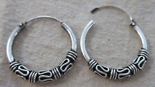 REAL 925 sterling silver 20mm Oxidised wire BALI THAI sleepers hoop earrings
